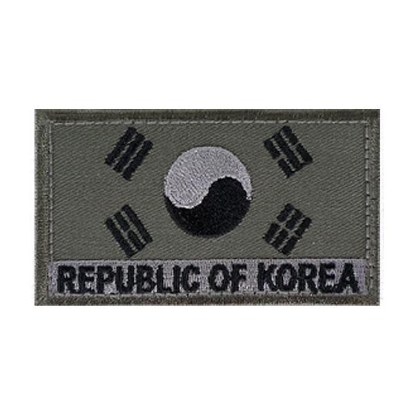 ROK 벨크로 태극기 수풀색