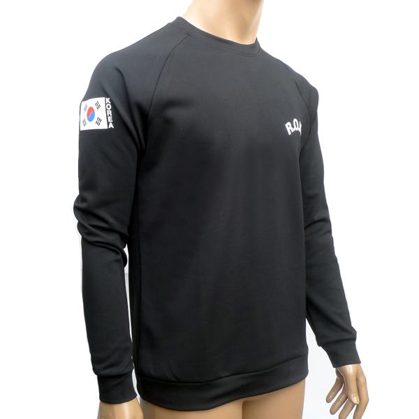 ROKA KOREA ARMY 기모 블랙 맨투맨 군인 티셔츠