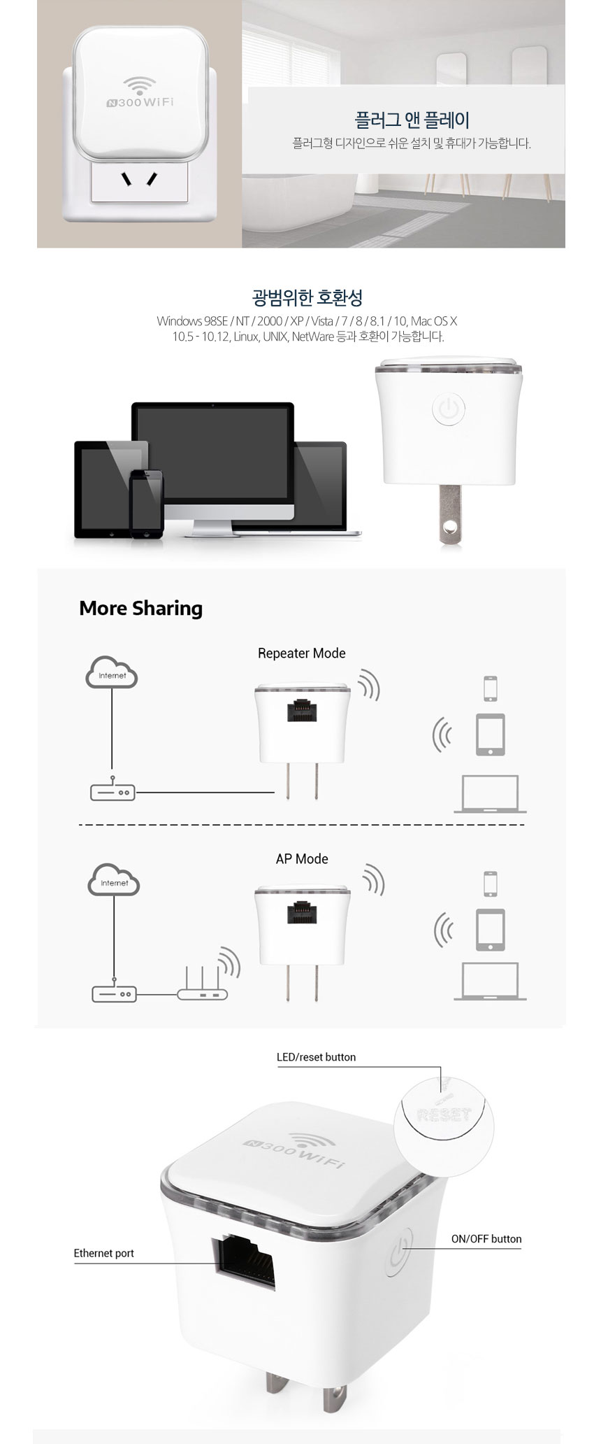 G마켓 - Meross MRE120 WiFi 300Mbps 플러그형 무선 리피터