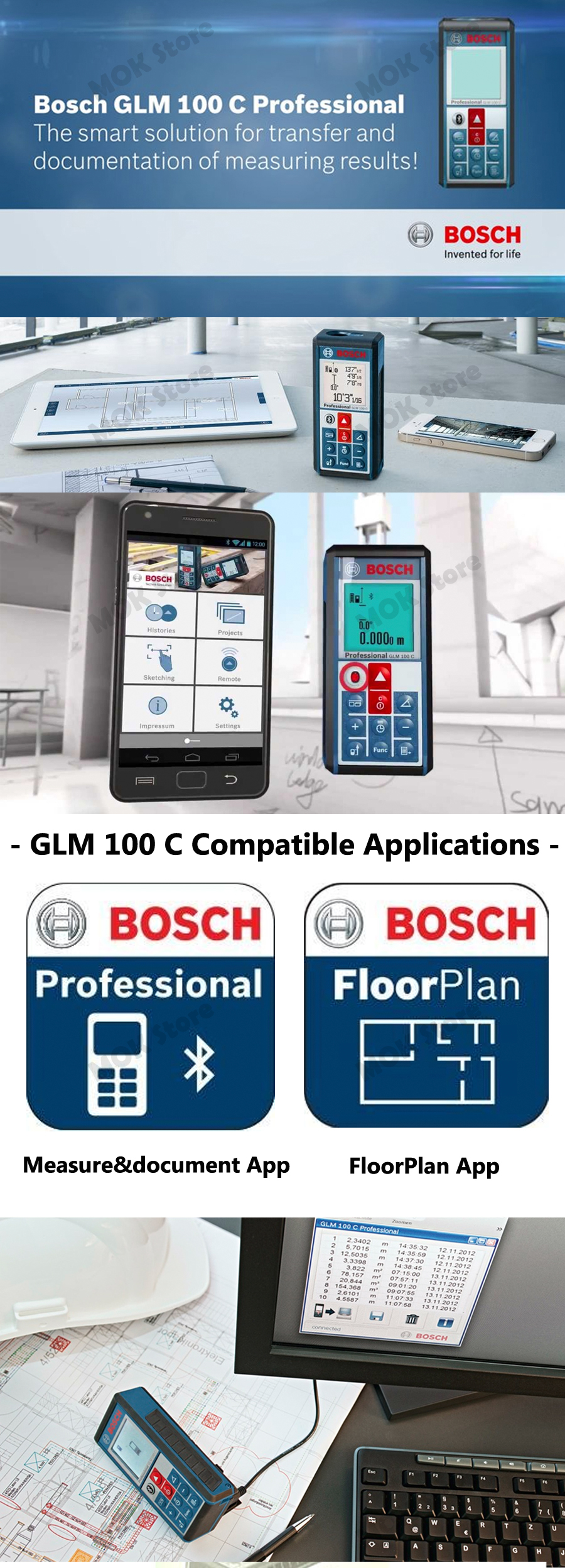 bosch glm 100c laser distance measure rangefinder with. Black Bedroom Furniture Sets. Home Design Ideas