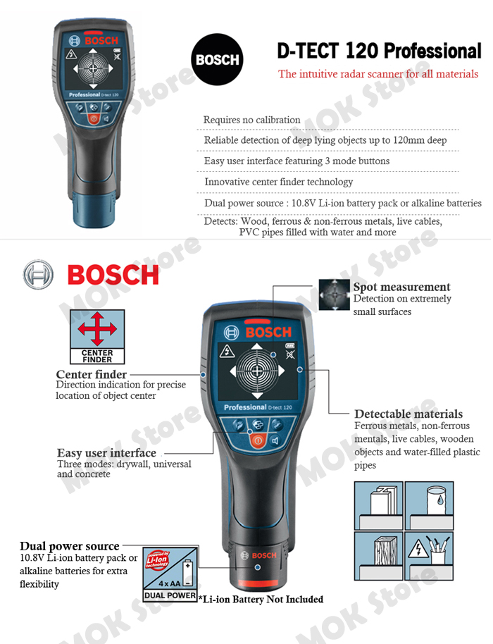 bosch d tect 120 professional universal detector of all materials wall scanner ebay. Black Bedroom Furniture Sets. Home Design Ideas
