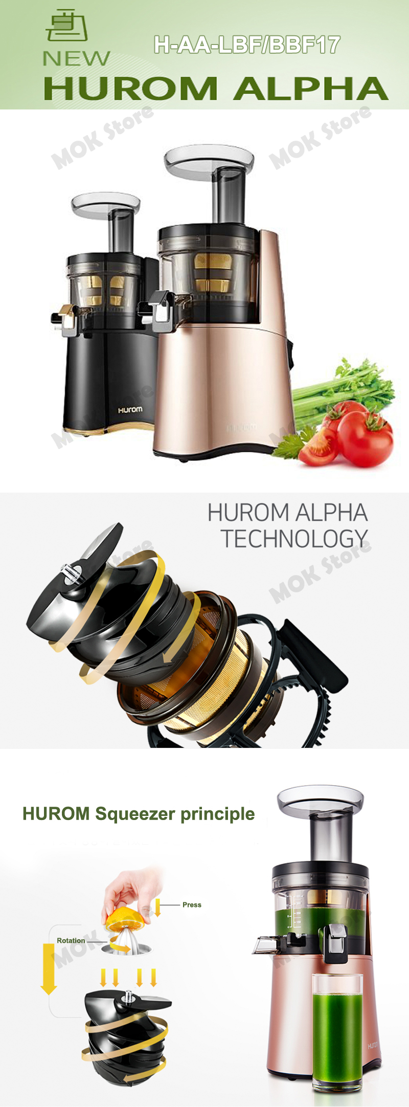 Hurom Alpha Premium Slow Juicer Haa Bbf17 : Hurom Alpha H AA LBF17 Premium Slow Cold Press Juicer Squeeze Extractor Black eBay