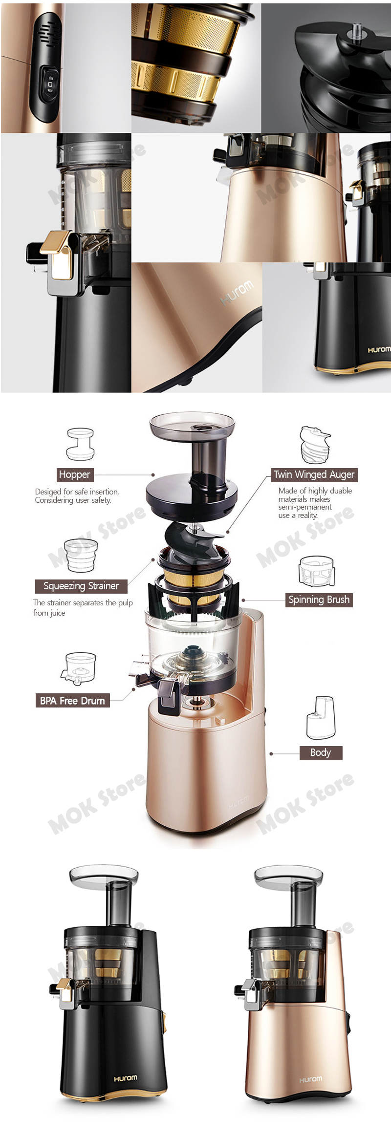Hurom Premium Slow Juicer Review : HUROM ALPHA H-AA LBF17 Premium Slow Cold Press Juicer Squeeze Extractor RoseGold eBay