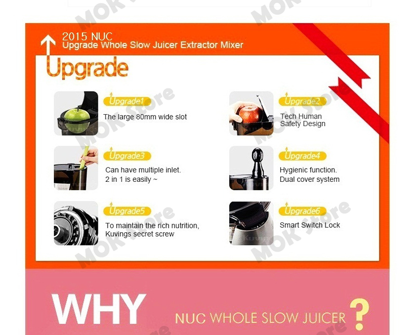 NUC Kuvings KJ-623S Whole Mouth Slow Fruit Juicer Juice Extractor (B6000S) Fedex eBay