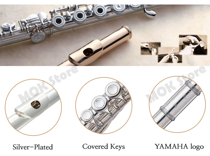 Yamaha yfl 222 silver student flute offset g footjoint c for Yamaha yfl 221 student flute