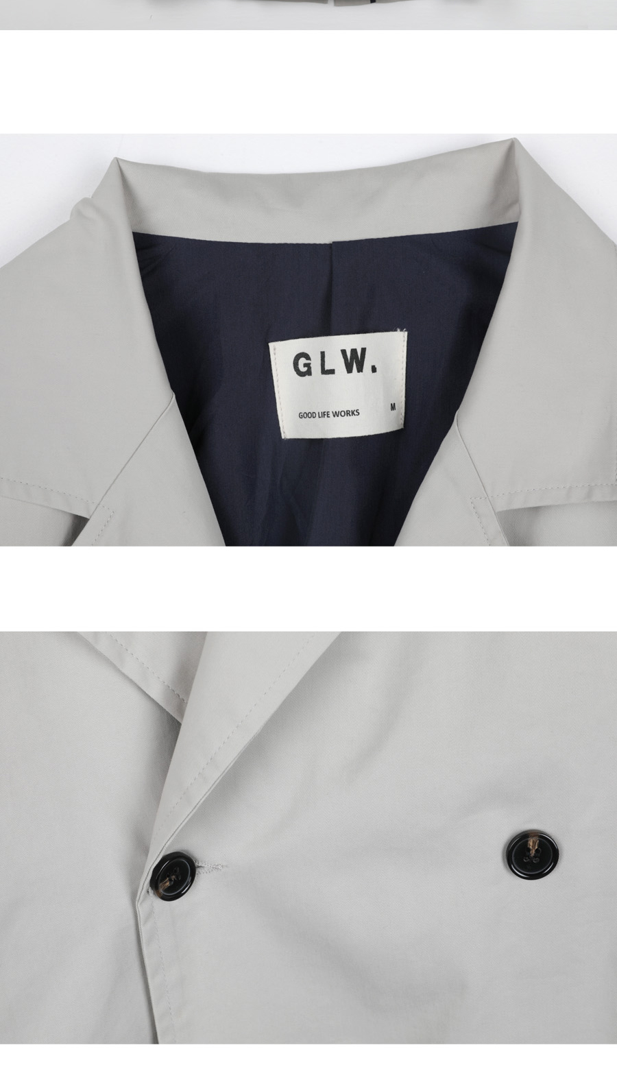 굿라이프웍스(GLW) 롱 더블 루즈핏 트렌치 코트 - 베이지