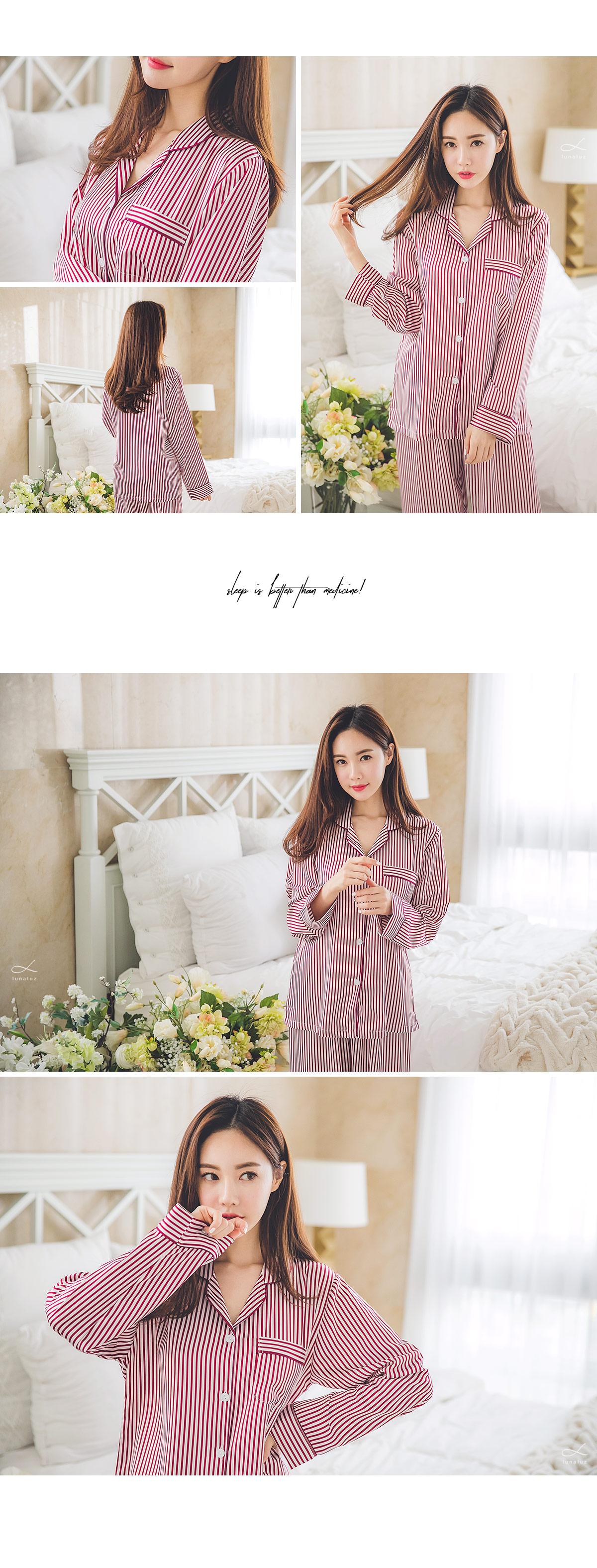 DTY 샤무즈 스트라이프 투피스 여성잠옷 - 쿠비카, 67,000원, 잠옷, 여성파자마