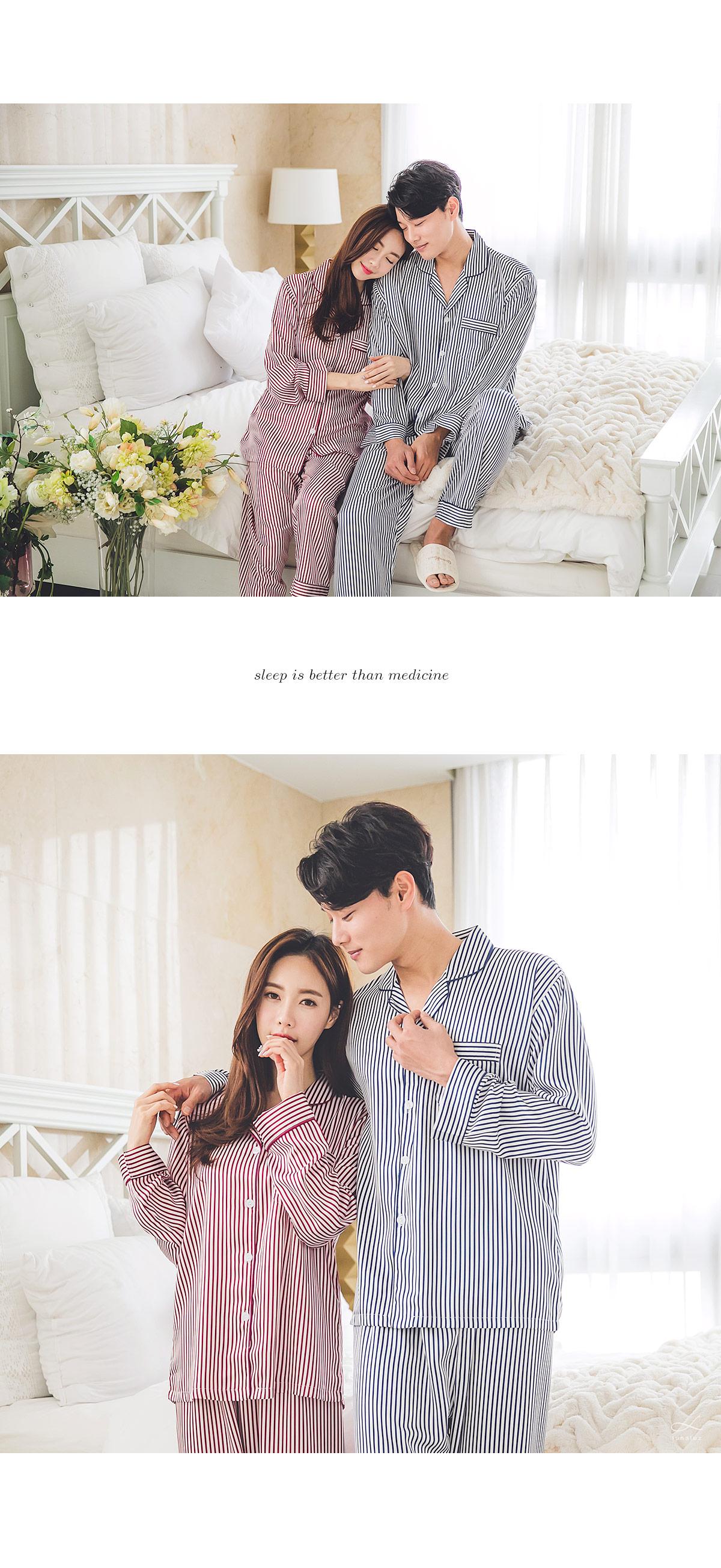 스트라이프 DTY 커플 투피스 잠옷 - 쿠비카, 135,000원, 잠옷, 커플파자마