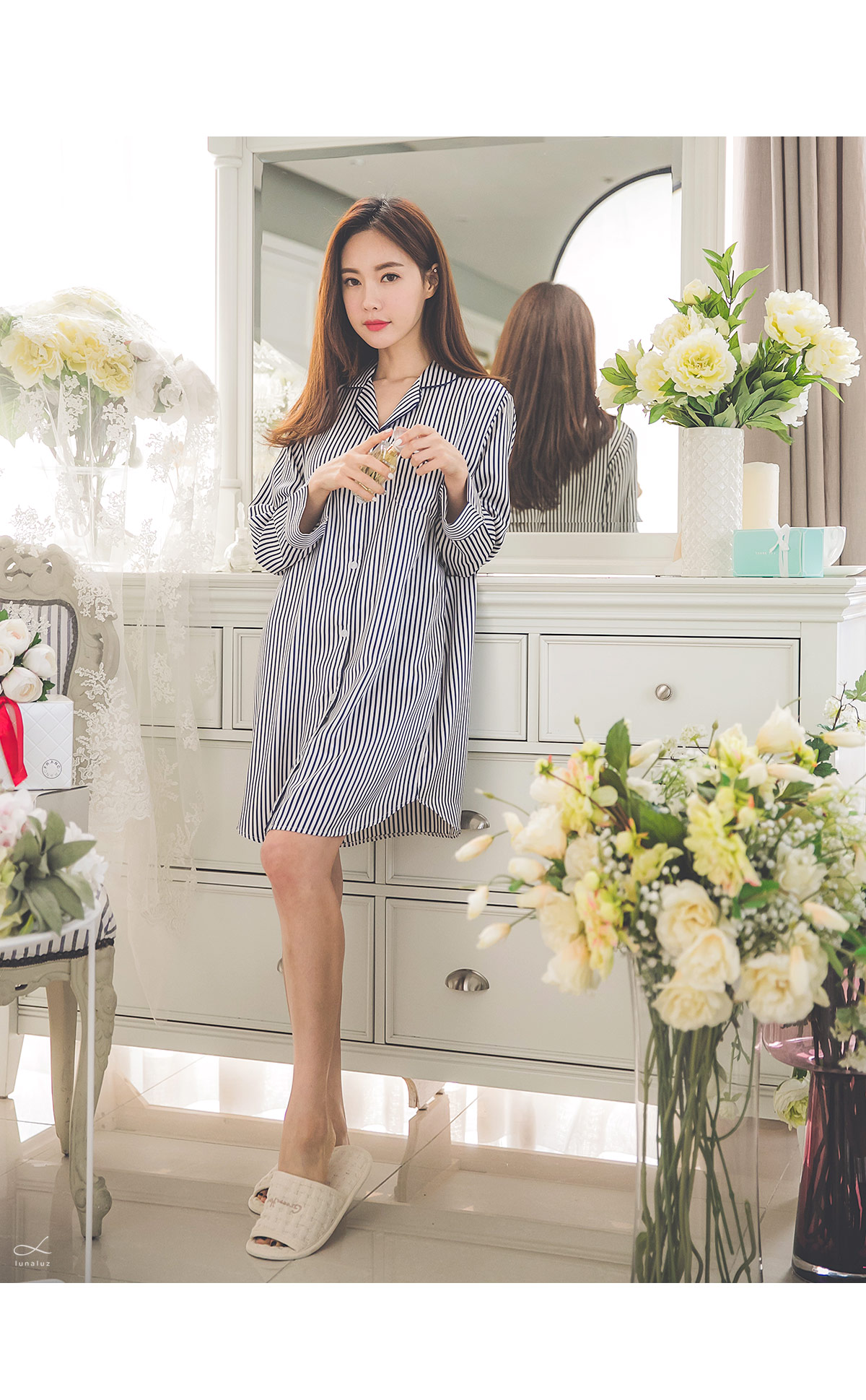 DTY 샤무즈 스트라이프 원피스 여성잠옷 - 쿠비카, 56,000원, 잠옷, 여성파자마