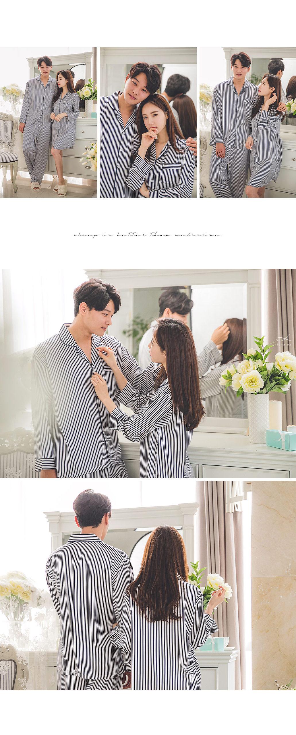 스트라이프 DTY 커플 원피스 잠옷 - 쿠비카, 124,000원, 잠옷, 커플파자마