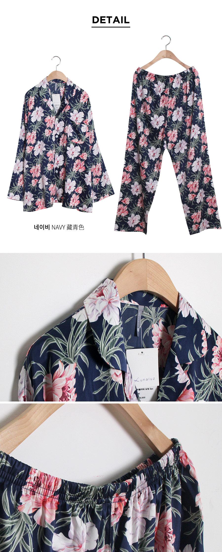 빅 플라워 샤무즈 긴팔 남성잠옷 BNBR-M060 - 쿠비카, 54,400원, 잠옷, 남성파자마