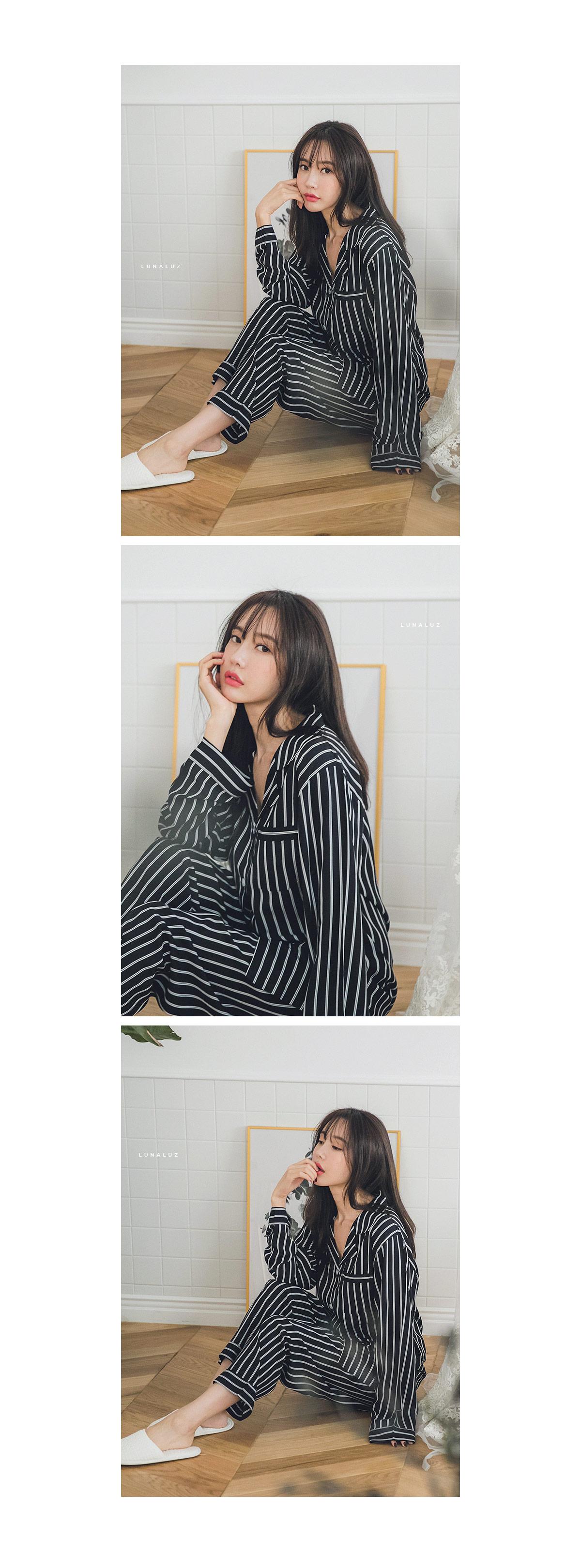 레이온 스트라이프 긴팔 투피스 여성잠옷W246 - 쿠비카, 64,000원, 잠옷, 여성파자마