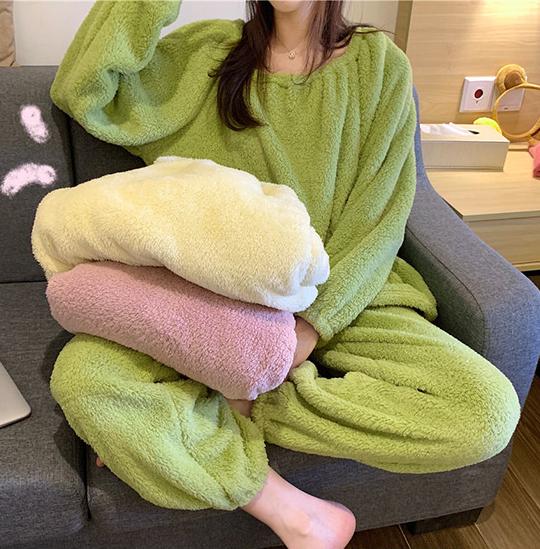 ST66 파스텔 밍크 세트 수면잠옷