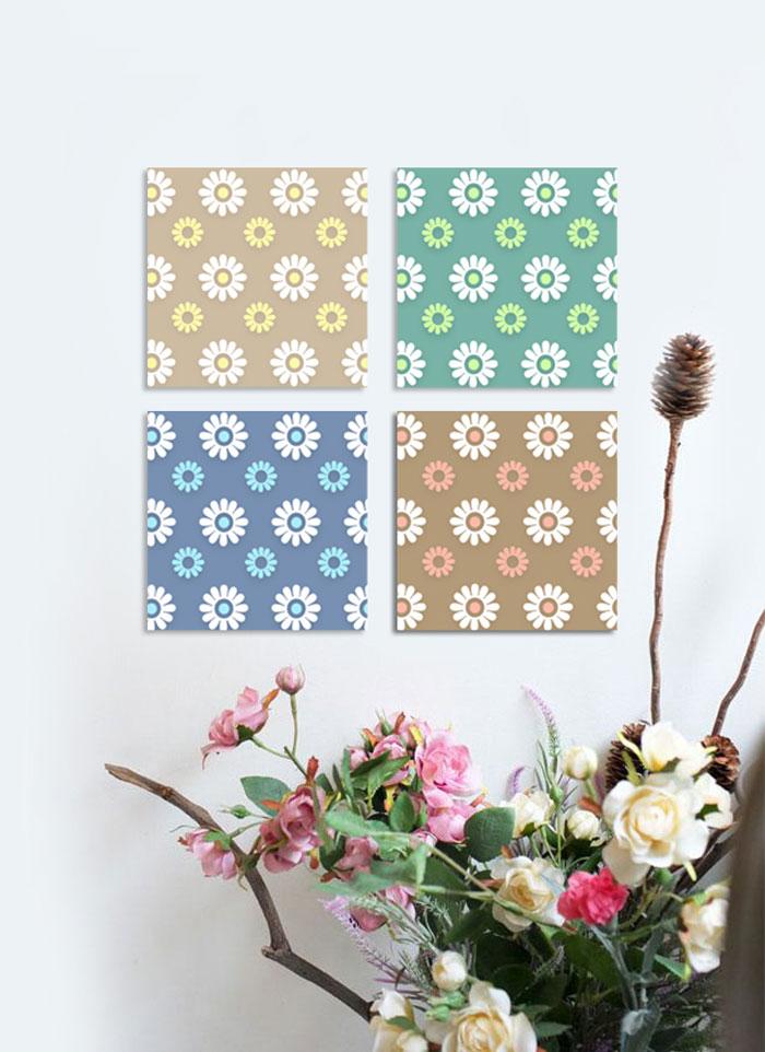 CAS374 봄꽃 패턴 그림액자 북유럽인테리어액자 - 시즈팝, 16,000원, 홈갤러리, 캔버스아트