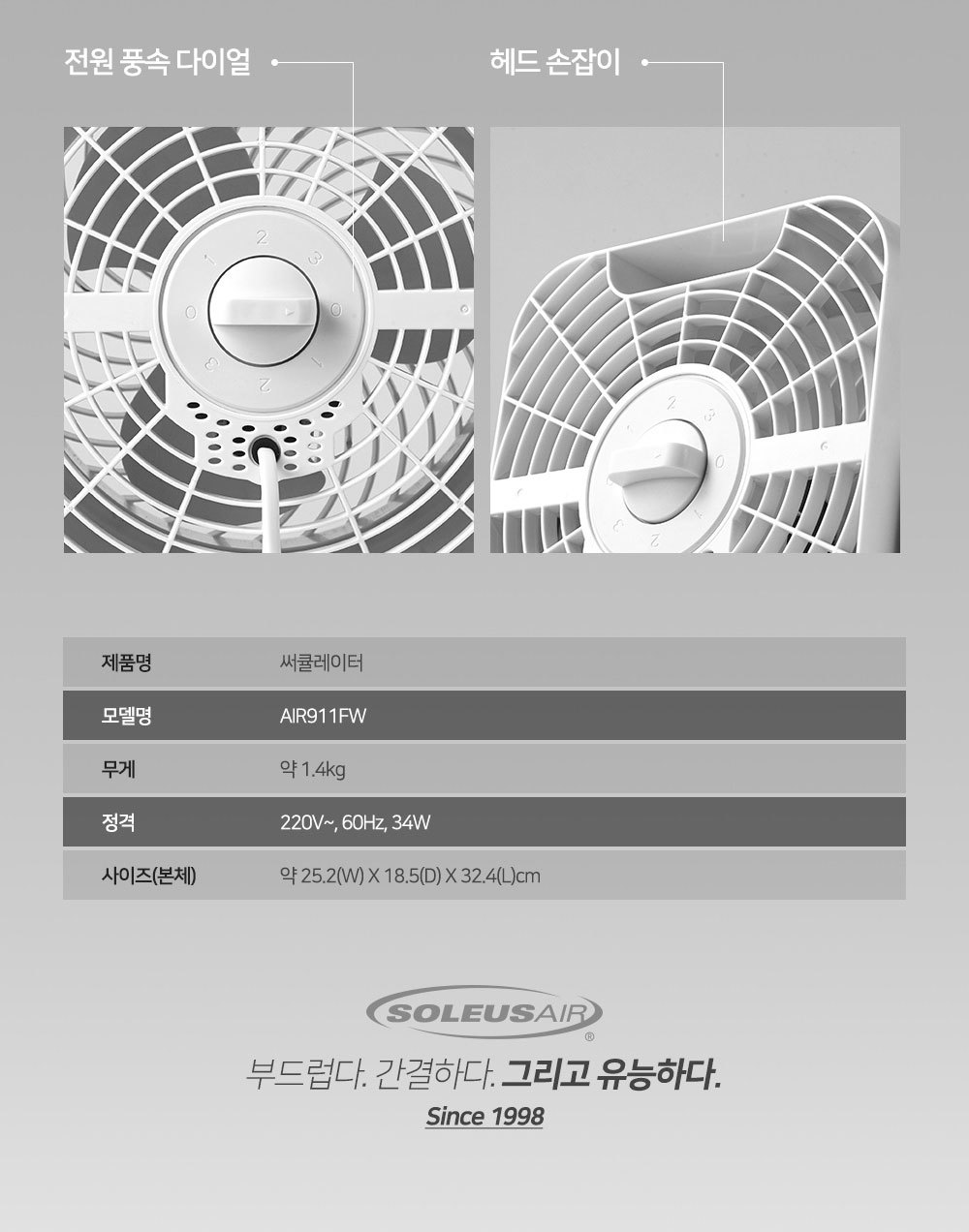써큘레이터 AIR911FW - 솔러스에어, 55,000원, 선풍기, 에어서큘레이터