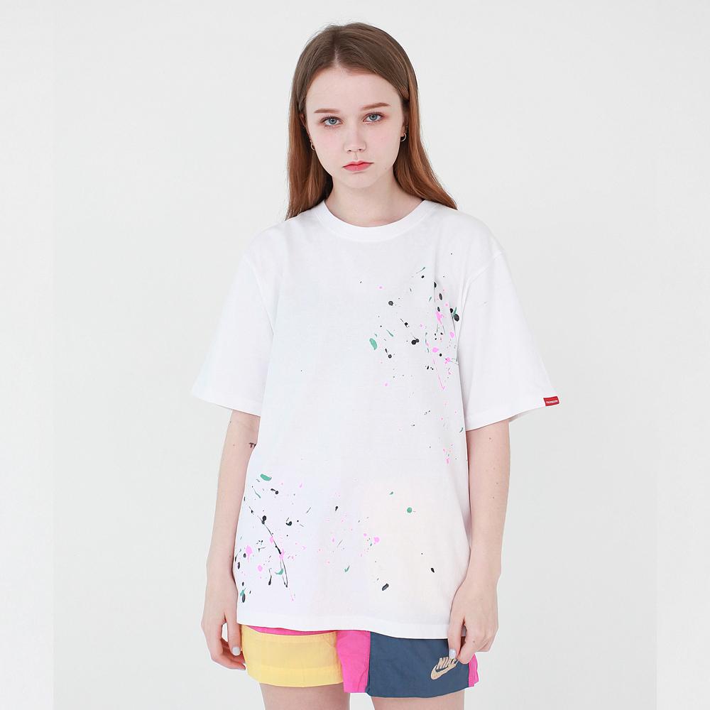 DOT 핸드 페인팅 티셔츠 - 화이트