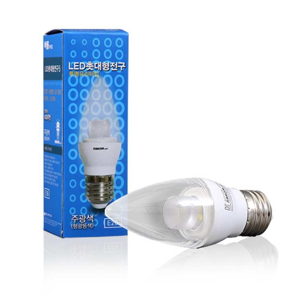 바롬 LED 촛대구 5W 주광색 전구색 [제작 대량 도매 로고 인쇄 레이저 마킹 각인 나염 실크 uv 포장 공장 문의는 네이뽕]