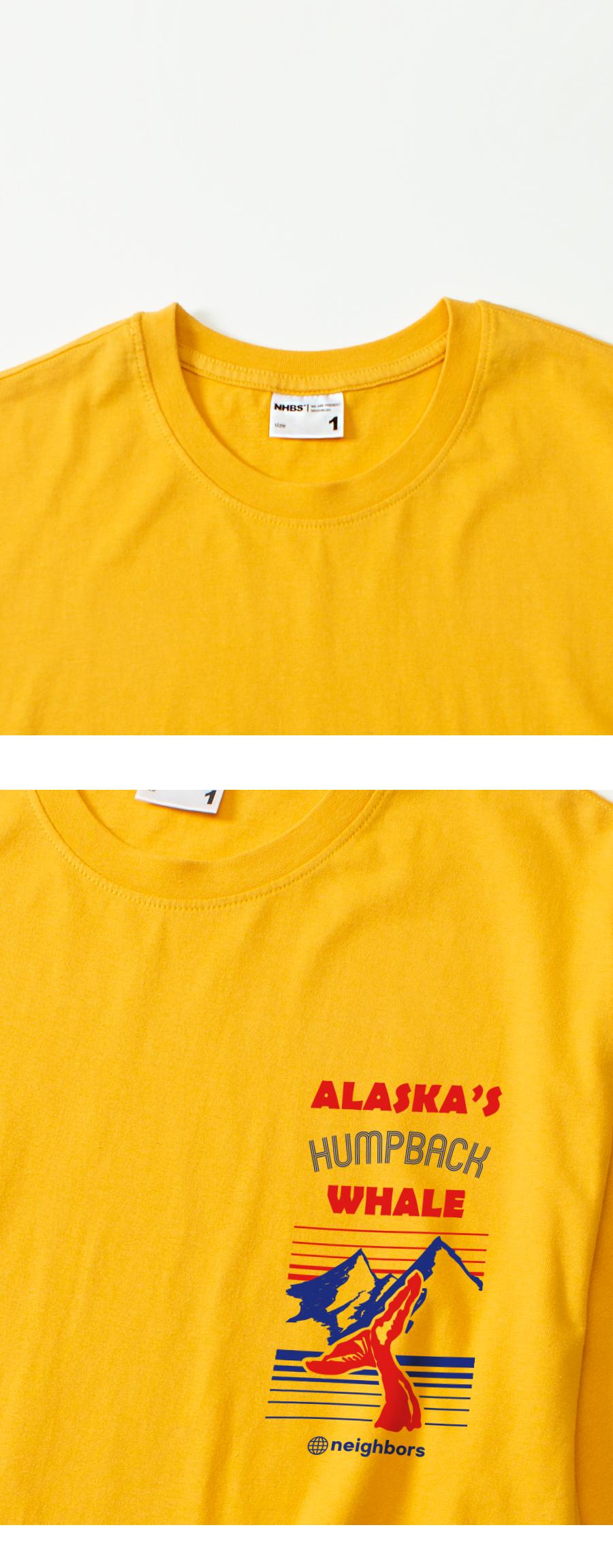 네이버스(NEIGHBORS) NBS302 스몰 험백 웨일 반팔 티셔츠 - 옐로우