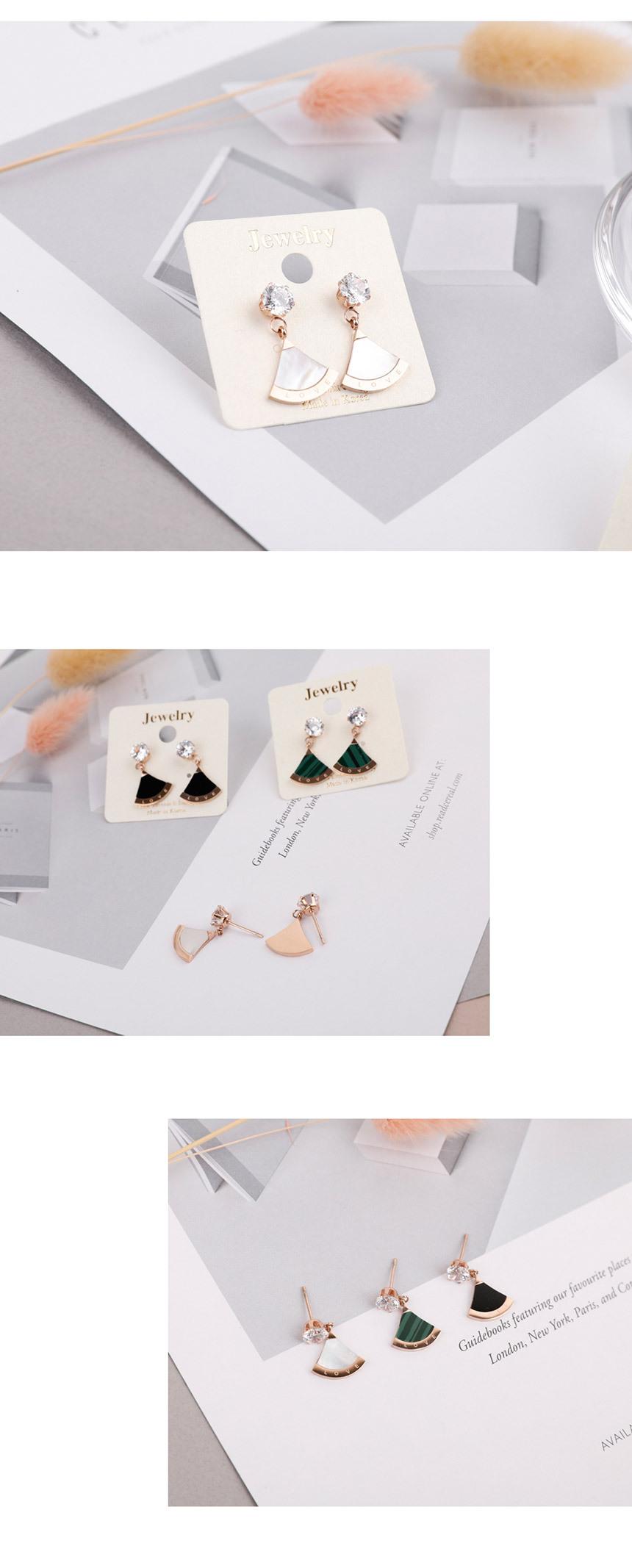 큐빅 부채 써지컬 스틸 귀걸이-3종 - 링코, 9,900원, 실버, 드롭귀걸이
