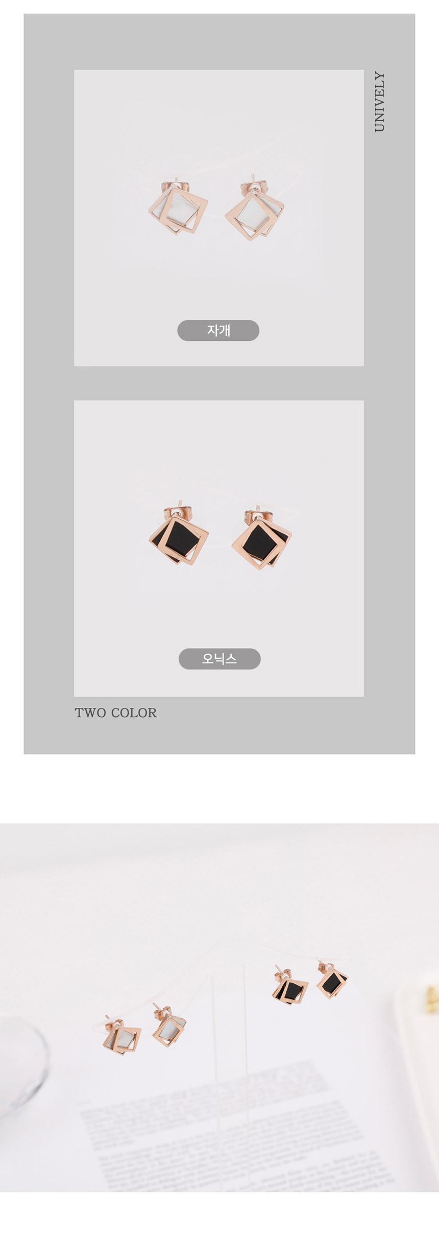 데칼코마니 사각 써지컬 스틸 귀걸이-2종 - 링코, 9,900원, 실버, 드롭귀걸이