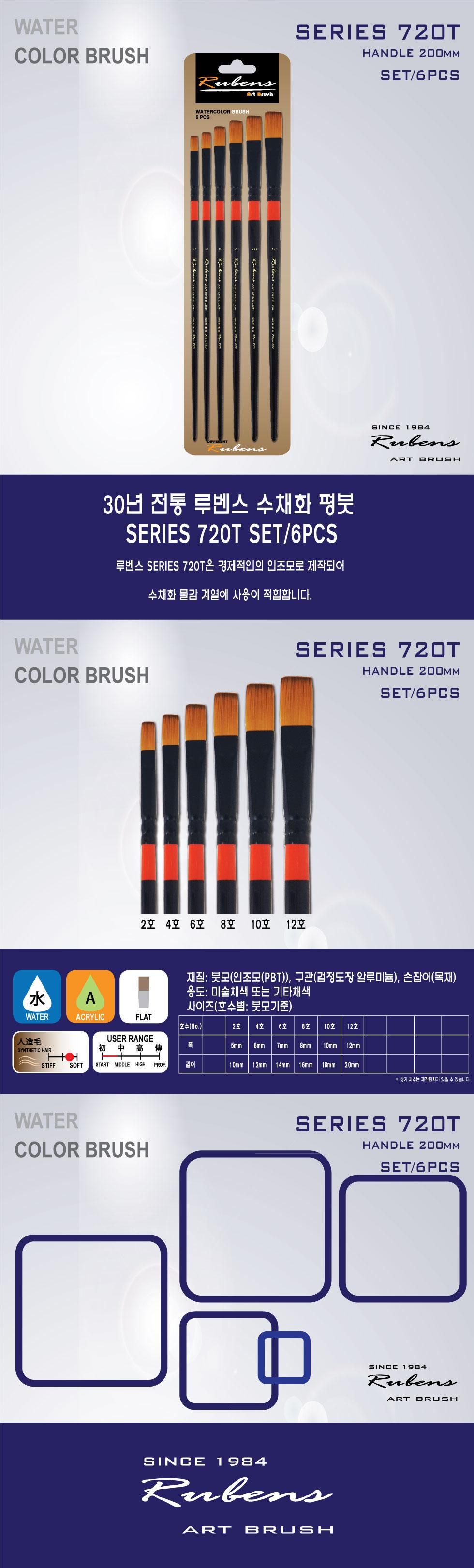루벤스 720T 수채화 평붓 6본조세트(2 4 6 8 10 12) - 우리아트, 10,850원, 수채화용품, 수채화붓
