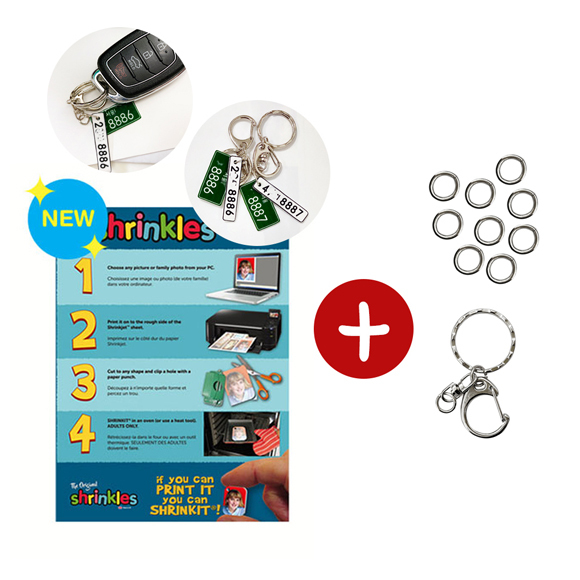 슈링클스 프린터용 A4 2매+오링10mm 10g+열쇠고리B 1봉10개 키링만들기