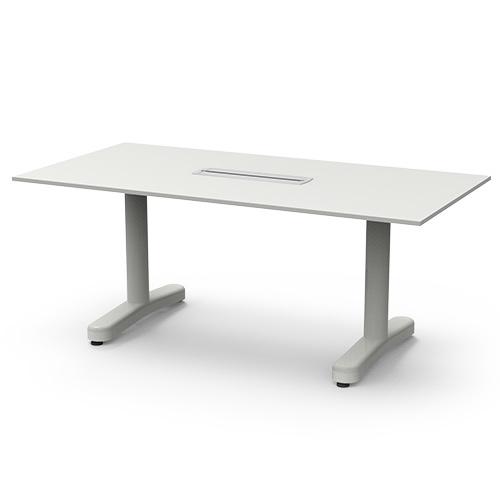 [심플즈] VIP 화이트 프레임 오리발 회의용 테이블 (NO.37)