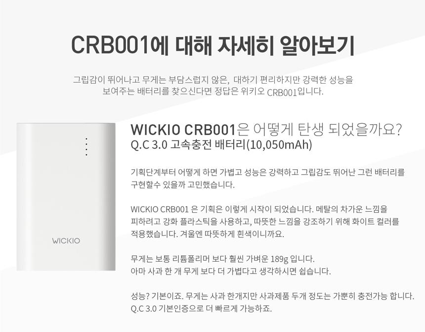 위키오 보조배터리 CRB001 고속충전 Q.C 3.0 10050mAh - 위키오, 31,900원, 보조배터리, ~10600mAh