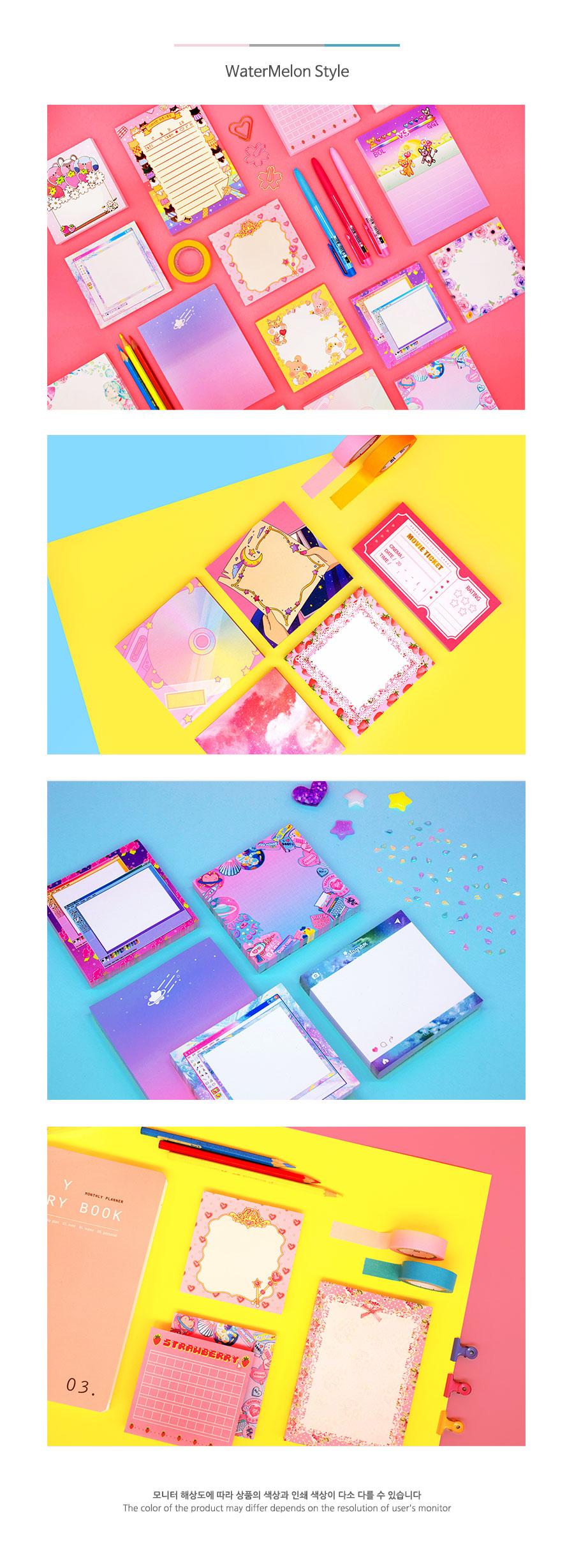 딸기픽셀원고메모지 C3 귀여운메모지 - 워터멜론, 2,800원, 메모/점착메모, 메모지