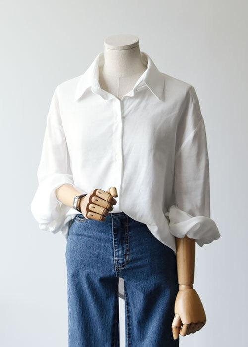 데일리 무지 루즈핏 셔츠