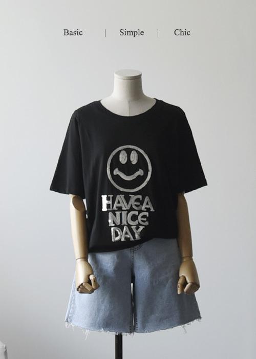 스마일 스팽글 티셔츠