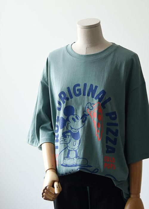 피자 미키 피그먼트 티셔츠