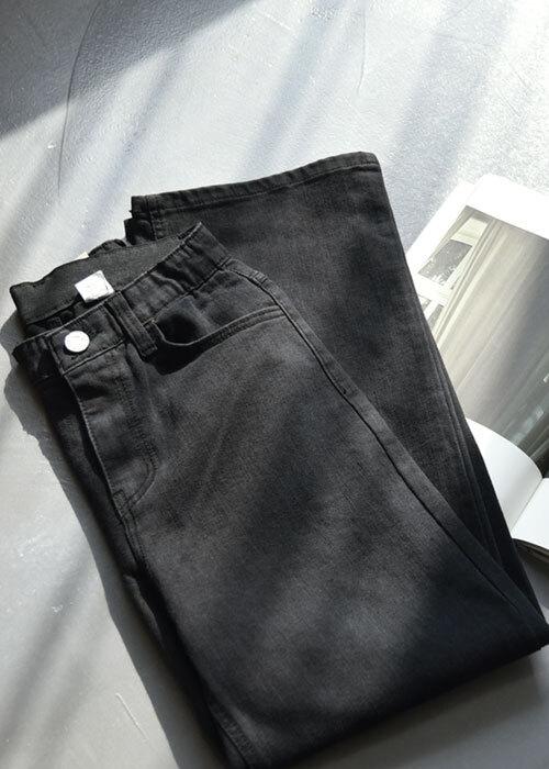 블랙 히든밴딩 면스판 와이드팬츠