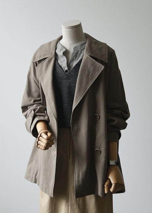 더블버튼 숏 바바리 코트
