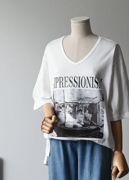아트 브이넥 루즈핏 티셔츠