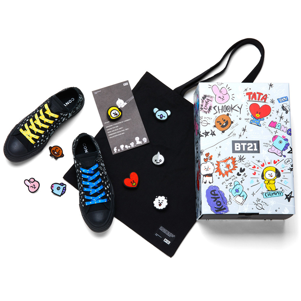 Details about BTS Official Goods OFFICIAL CONVERSE X BT21 CHUCK TAYLOR ALL STAR LOW BLACK