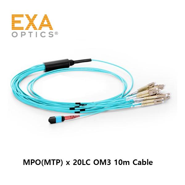 [EXA] 24C MPO-20LC OM3 10M 光ファイバ ケーブル