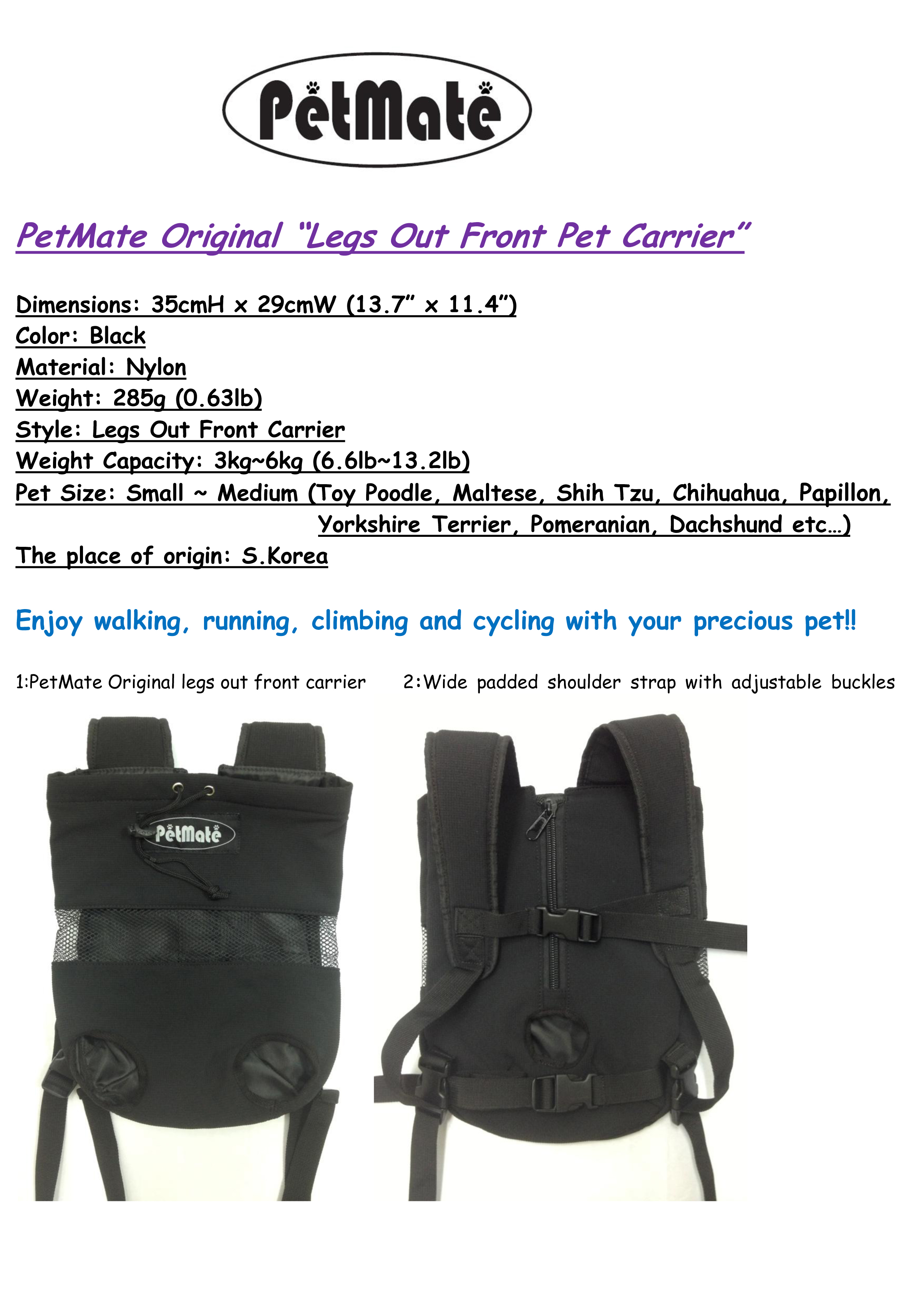 """Pet Carrier """"Pet Dog Puppy Cat Legs Out Front Carrier"""" Travel Outdoor Walking"""