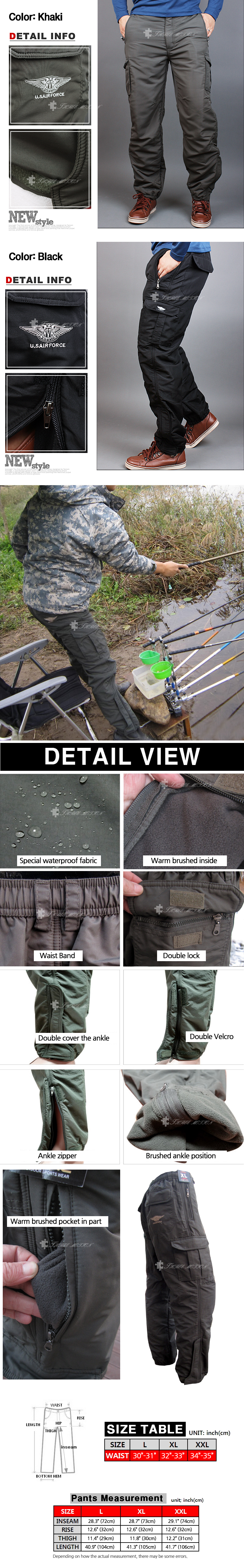 Jual Winter Mens Cargo Pants Fishing Waterproof Lined Thermal Work Rod Belt Tempat Handphone Comfort Waist With Elastic Band And Loop Durable Fabric Construction Over Sized Pockets
