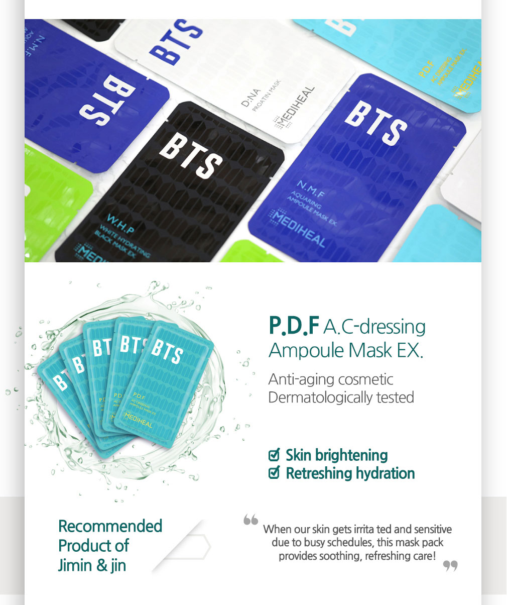 [ Mediheal ] BTS Skin Soothing Care Mask Sheet 10ea(Gift_BTS Photocard 14ea)