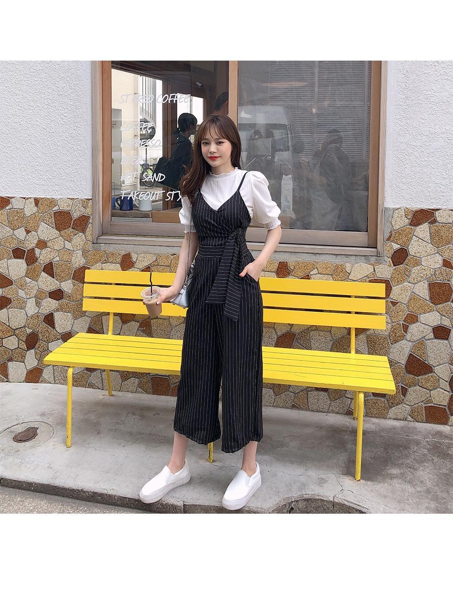리리앤코 본즈 스트라이프 점프수트