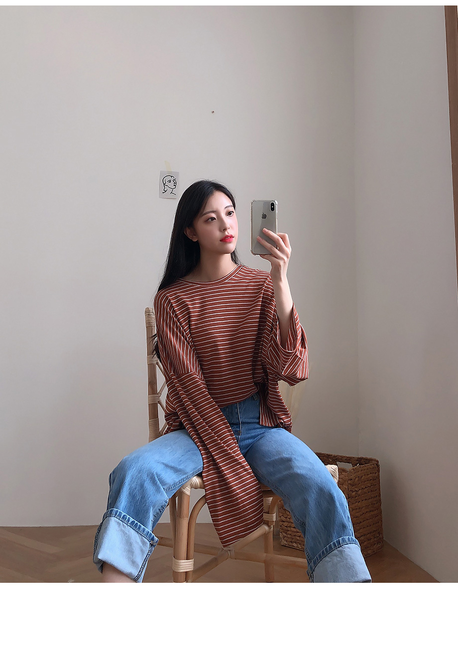 리리앤코 코튼볼 스트라이프 루즈핏 티셔츠