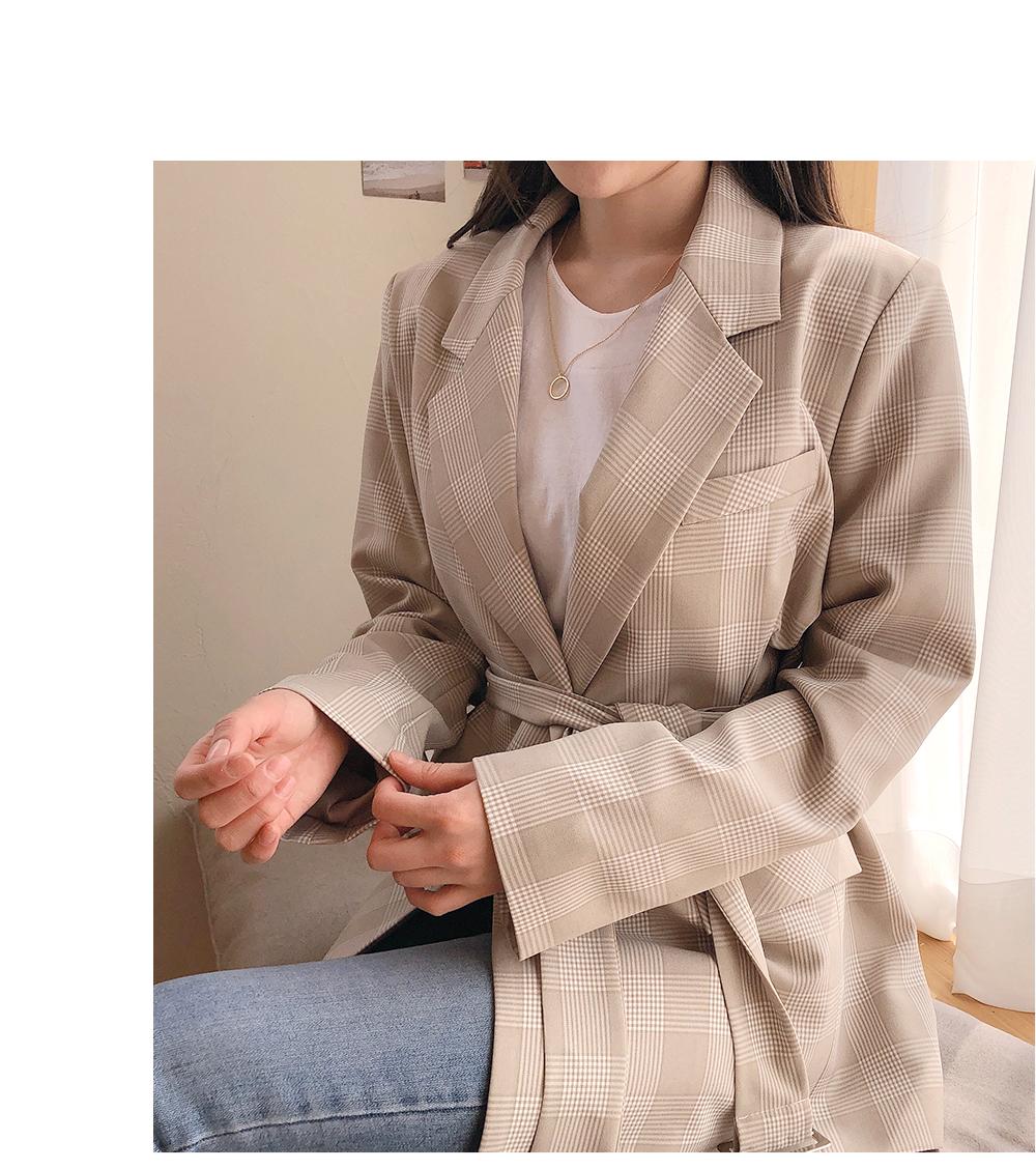リリエンコ,チェック柄 ベルト付きジャケット