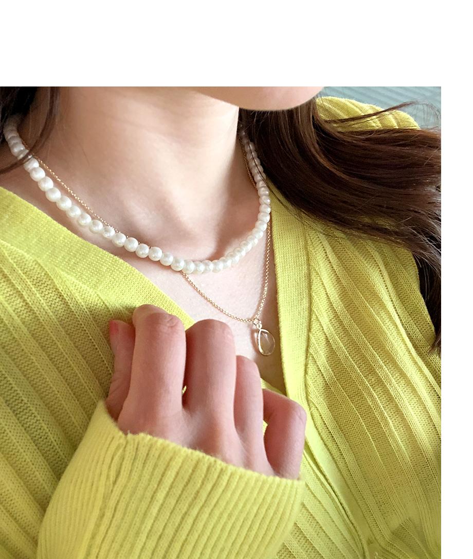 フェイクパール 2本 レイヤリング ネックレス
