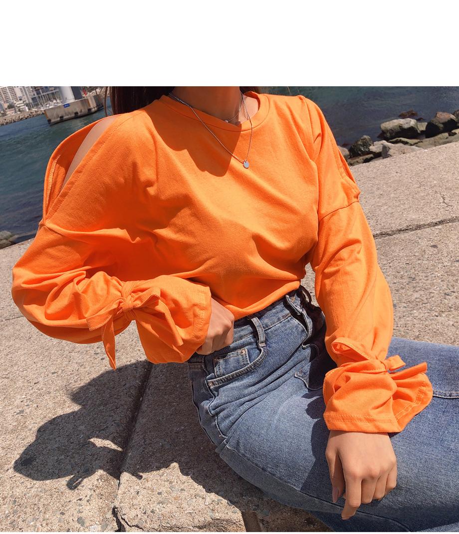 폴리티 어깨트임 리본 티셔츠