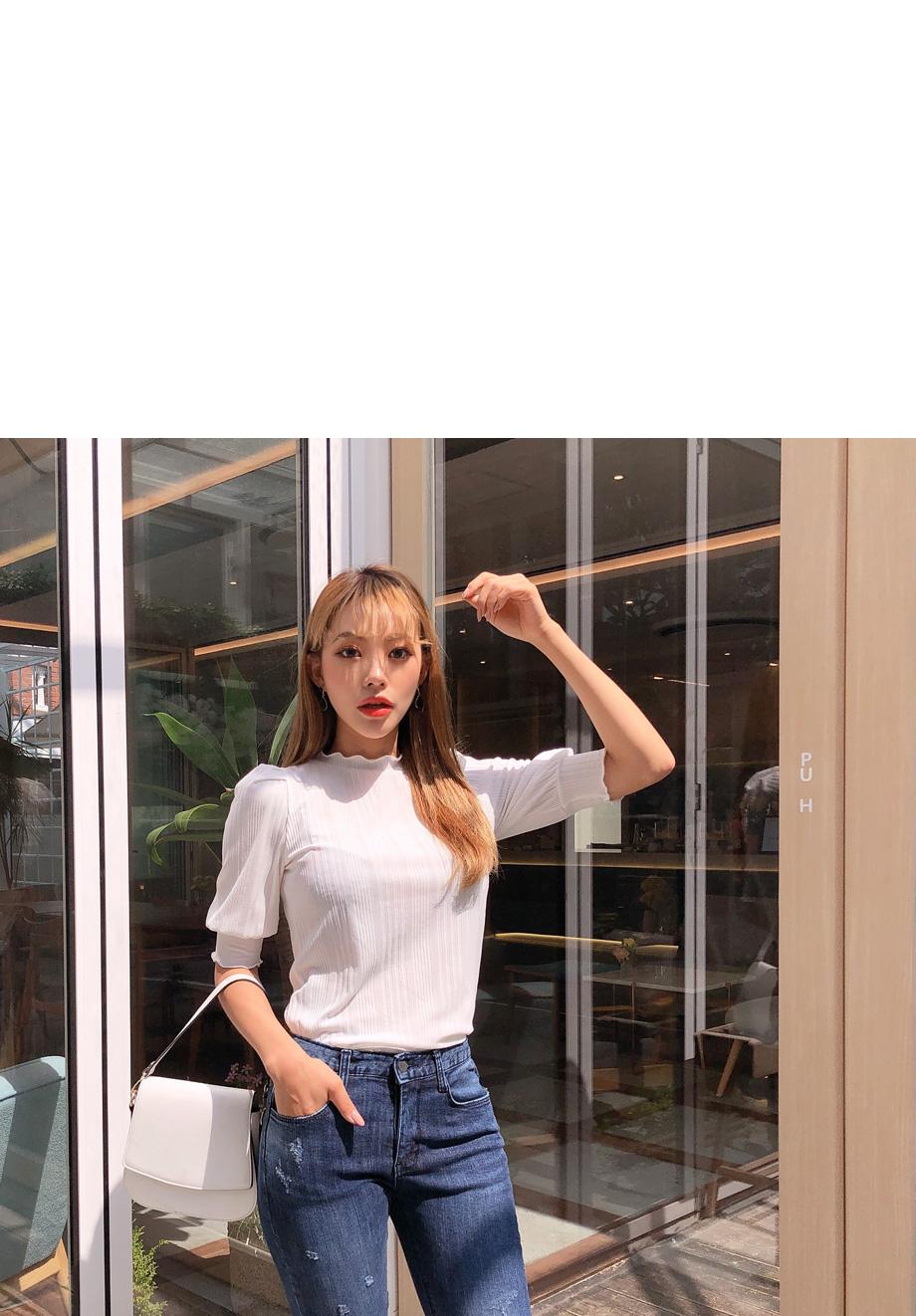 리리앤코 예쁜무드 골지 퍼프 티셔츠