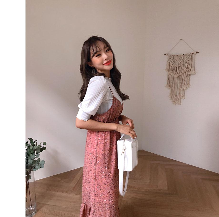 로아제 프릴 플라워 드레스