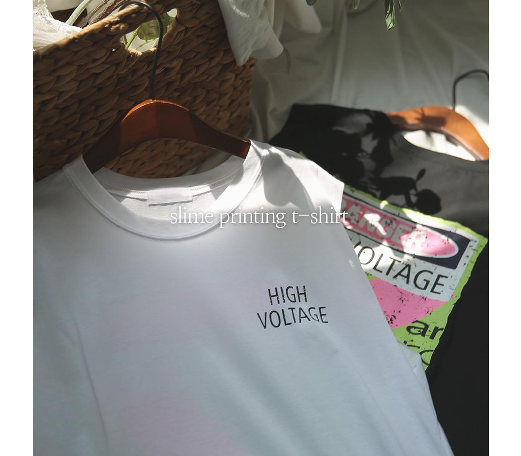 슬리미 프린팅 민소매 티셔츠