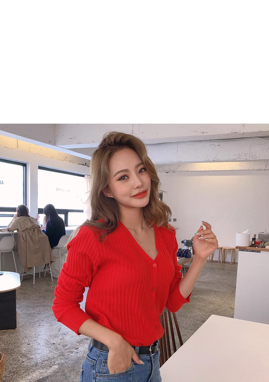 리리앤코 위듀 브이넥 가디건