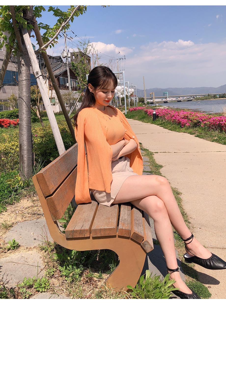 RIRINCO,リブニットカーディガン&半袖トップス SET